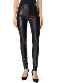 J Brand Maria High Rise Coated Skinny Jeans - Galactic Black