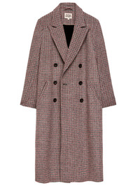 Twist and Tango Samantha Double Breasted Check Coat - Wine
