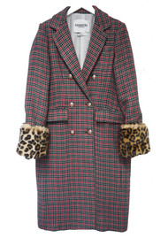 ESSENTIEL ANTWERP Rolly Check Leopard Double Breasted Coat - Summer Sky