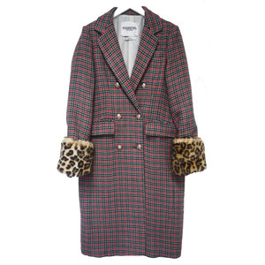 Rolly Check Leopard Double Breasted Coat - Summer Sky