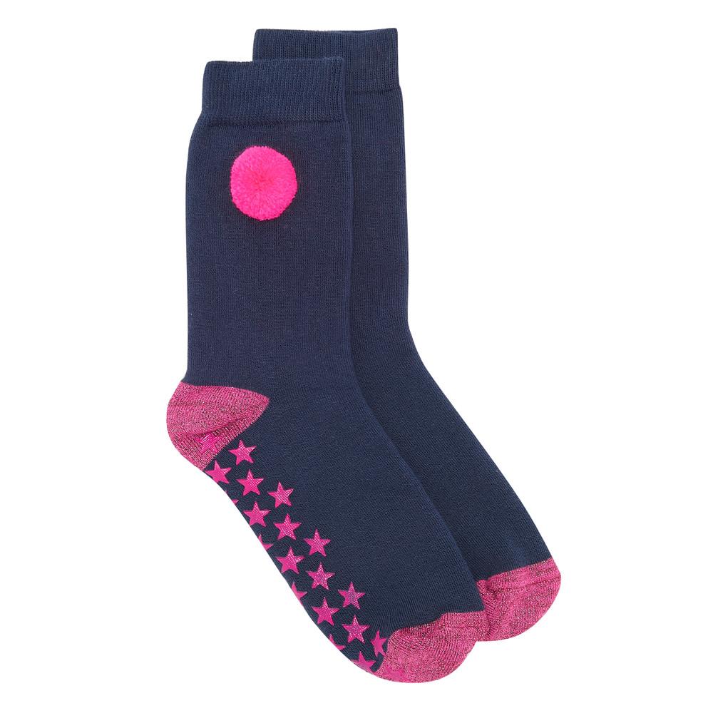 Slipper Socks - Pom Pom Navy