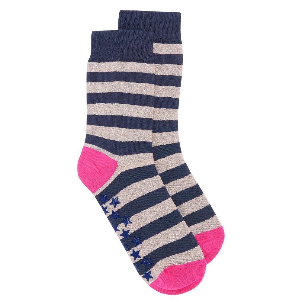 Slipper Socks - Stripe Rose