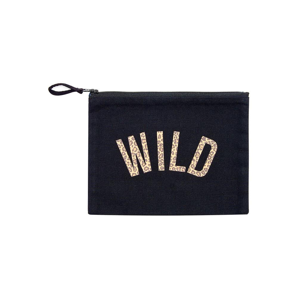 Wild Leopard Make Up Bag - Black