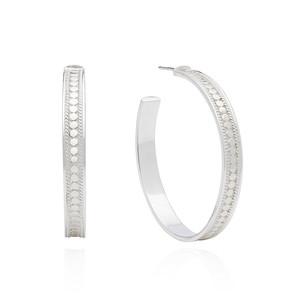 Large Post Hoop Earrings - Silver