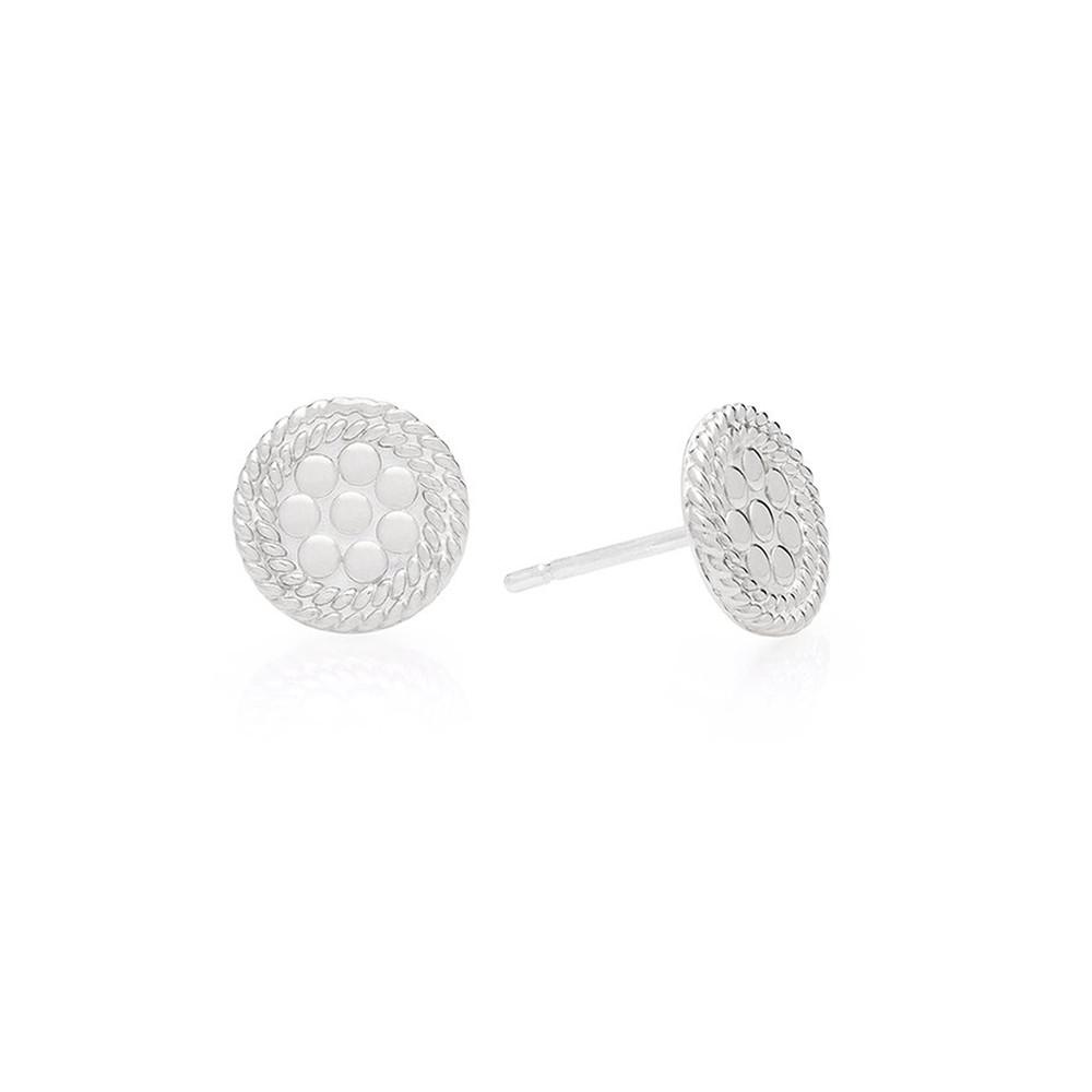 Tiny Circle Stud Earrings - Silver