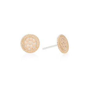 Tiny Circle Stud Earrings - Gold