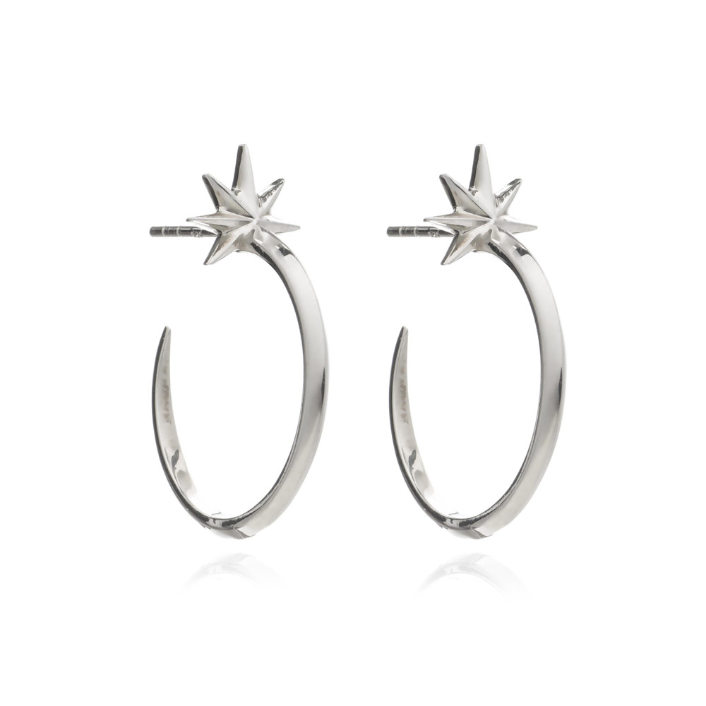 Rockstar Shooting Star Hoops - Silver