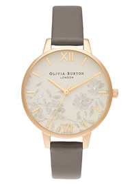 Olivia Burton Lace Detail Midi Dial Watch - London Grey & Gold