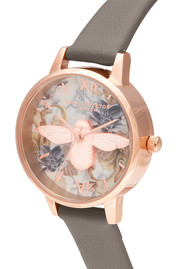 Olivia Burton Marble Florals Midi 3D Bee Watch - London Grey & Rose Gold