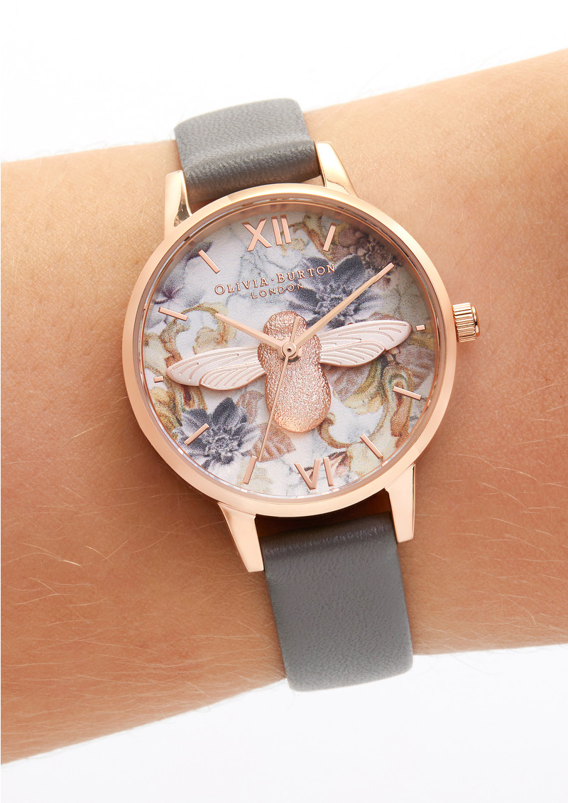 Olivia Burton Marble Florals Midi 3D Bee Watch - London Grey & Rose Gold main image