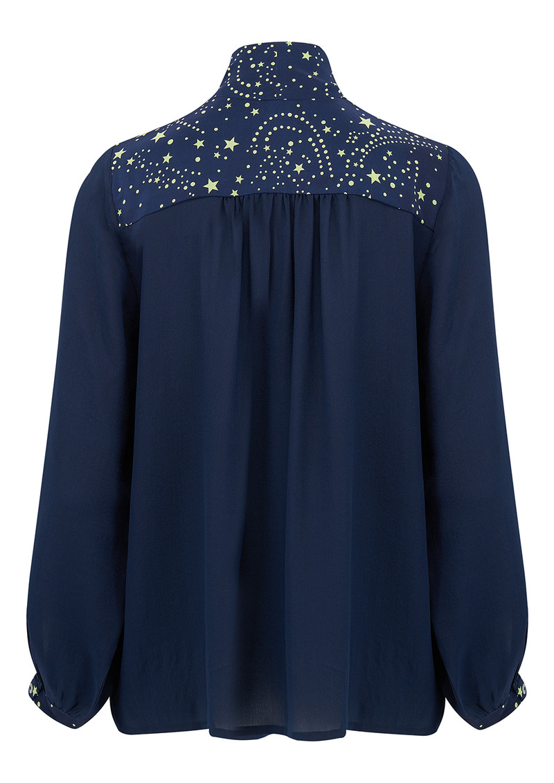 Exclusive Blaise Silk Blouse - Navy Neon Lime Star main image