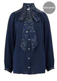 Mercy Delta Exclusive Blaise Silk Blouse - Navy Neon Lime Star
