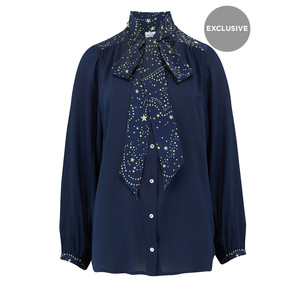Exclusive Blaise Silk Blouse - Navy Neon Lime Star