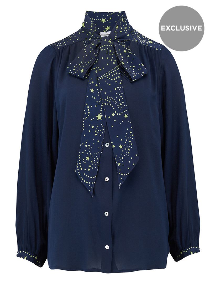 Mercy Delta Exclusive Blaise Silk Blouse - Navy Neon Lime Star main image