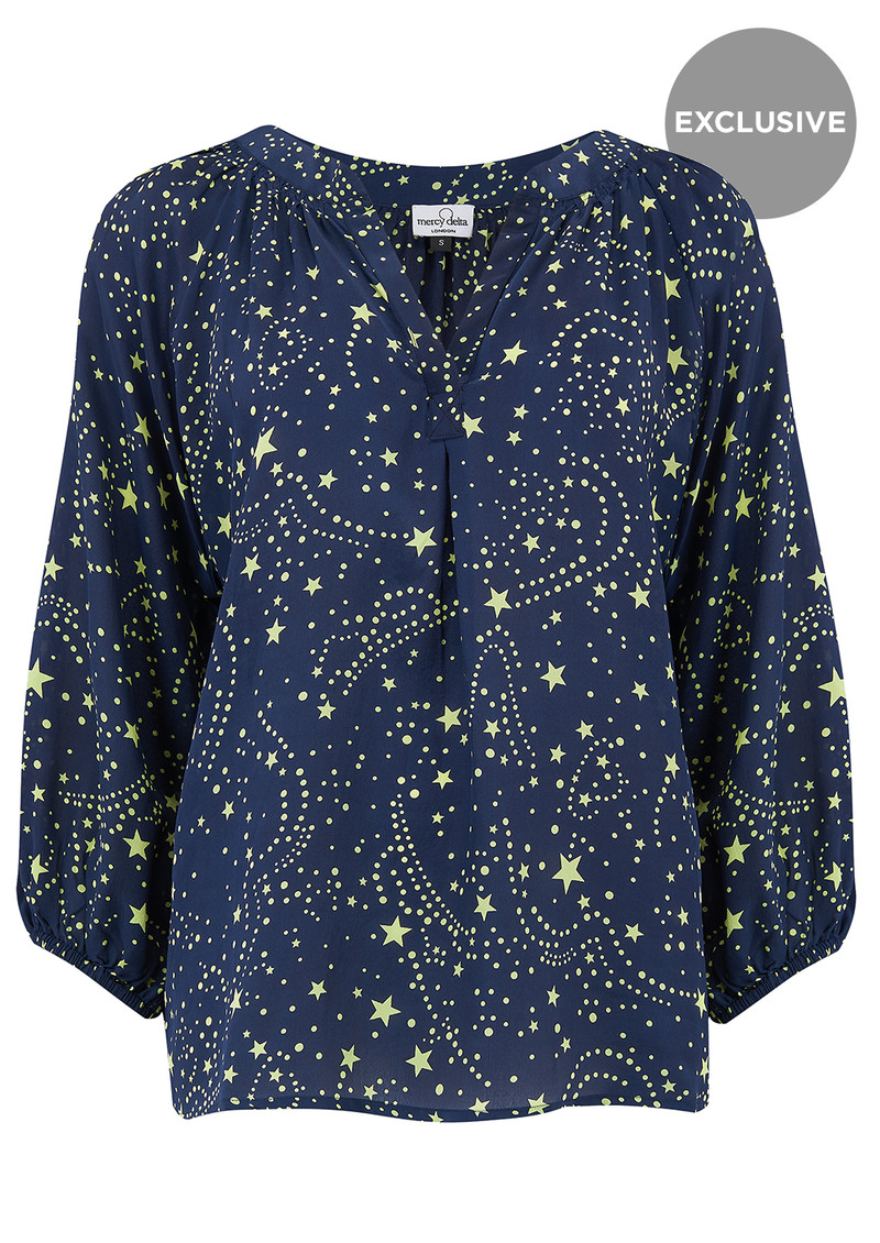 Mercy Delta Exclusive Clevedon Silk Top - Galaxy Neon Lime main image