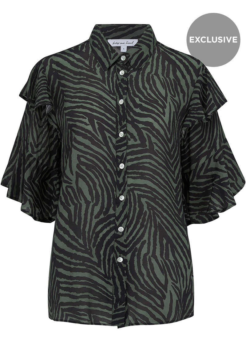 Lily and Lionel Exclusive Frankie Shirt - Zebra Khaki main image