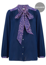 Mercy Delta Exclusive Blaise Safari Blouse - Navy & Pink