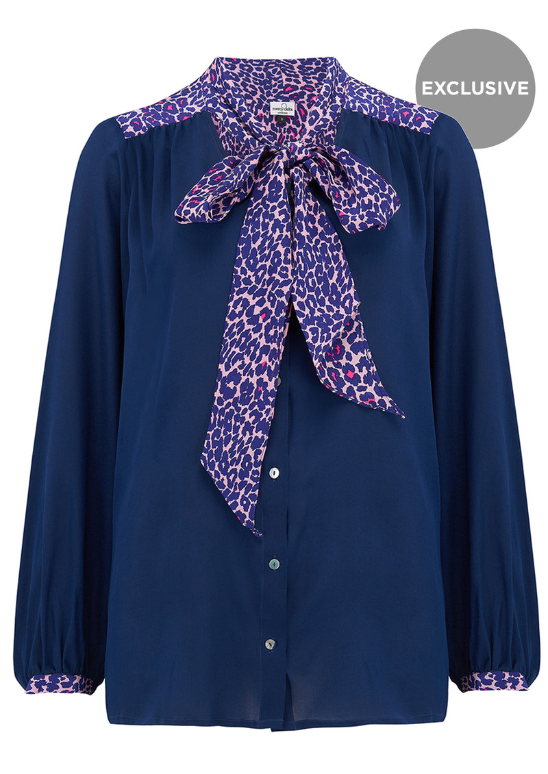 Mercy Delta Exclusive Blaise Safari Blouse - Navy & Pink  main image