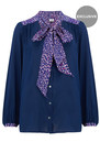 Exclusive Blaise Safari Blouse - Navy & Pink  additional image