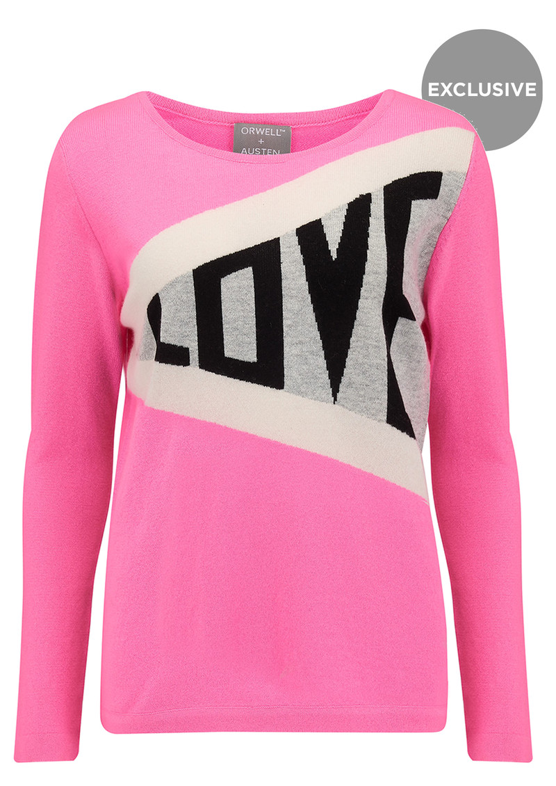 Exclusive Love Jumper - Pink & Grey main image