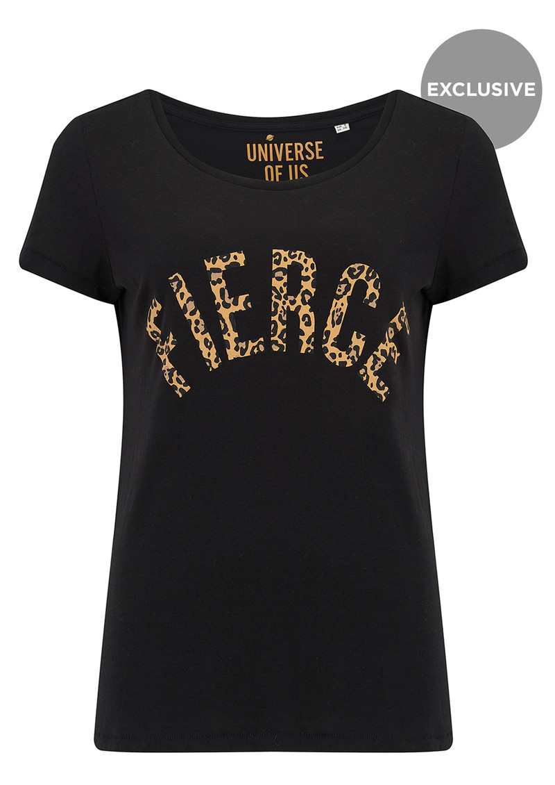 UNIVERSE OF US Fierce T-Shirt - Black & Leopard main image