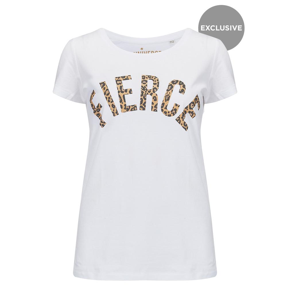 Fierce T-Shirt - White & Leopard