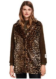 Maison Scotch Contrast Sleeve Leopard Print Coat - Leopard