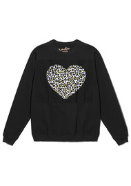 ON THE RISE Leopard Heart Jumper - Black