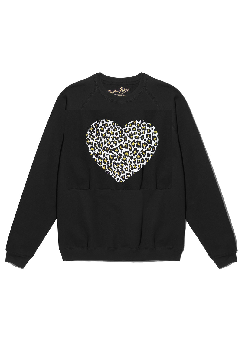 ON THE RISE Leopard Heart Jumper - Black main image