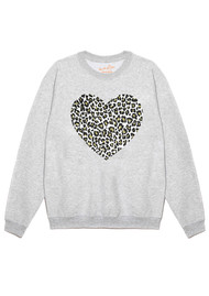 ON THE RISE Leopard Heart Jumper - Heather Grey