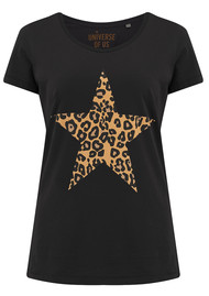 UNIVERSE OF US Star Leopard T-Shirt - Black
