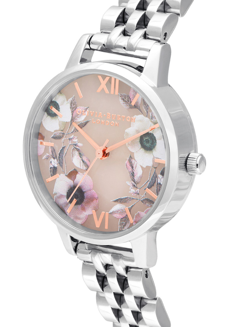 Semi Precious Midi Dial Bracelet Watch - Rose Quartz & Silver main image