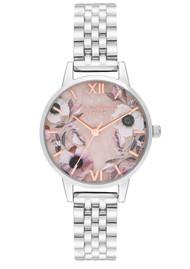 Olivia Burton Semi Precious Midi Dial Bracelet Watch - Rose Quartz & Silver