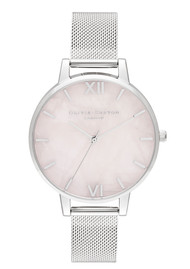 Olivia Burton Semi Precious Big Dial Mesh Watch - Silver & Rose Quartz