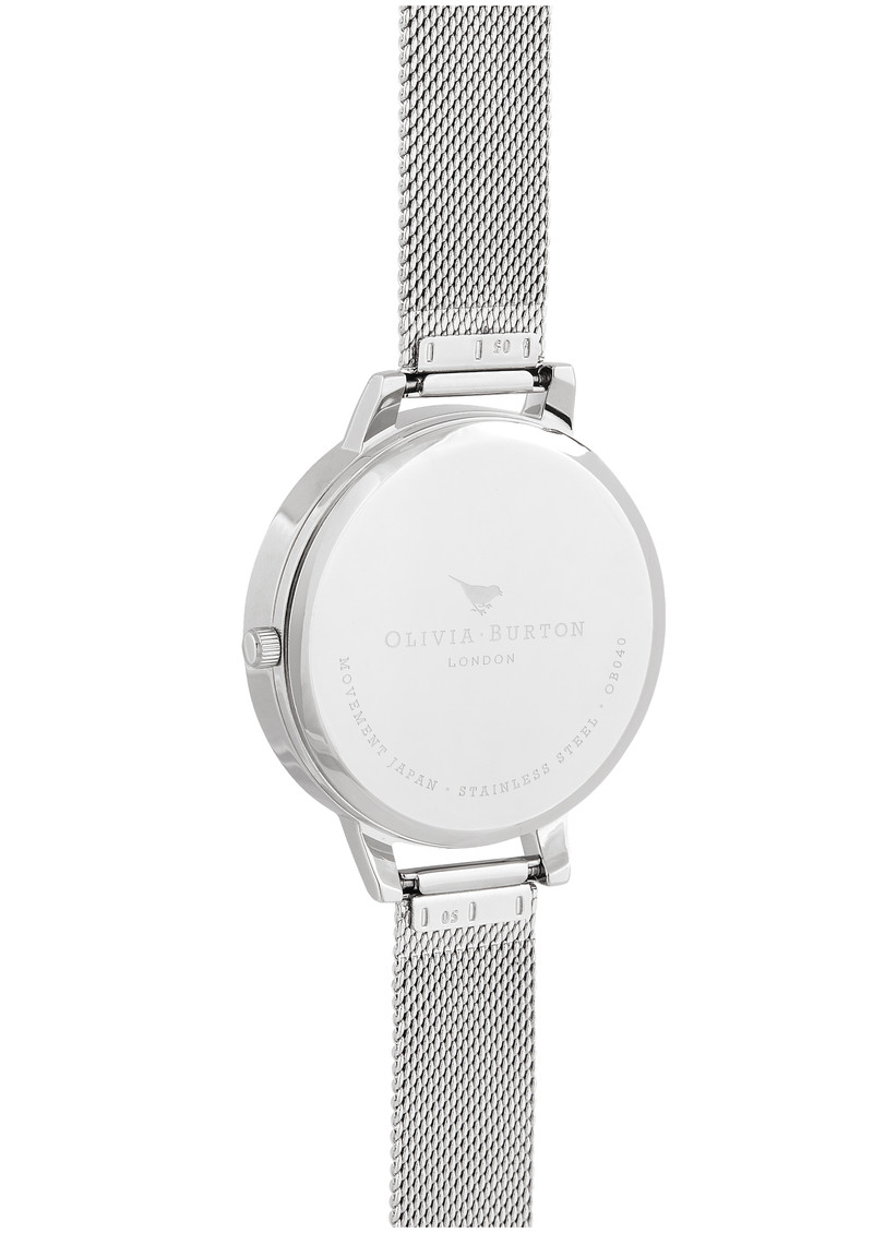 Olivia Burton Semi Precious Big Dial Mesh Watch - Silver & Rose Quartz main image