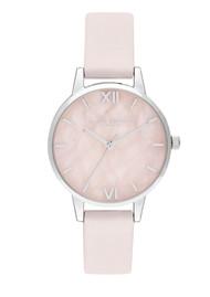 Olivia Burton Semi Precious Midi Dial Watch - Rose Quartz, Blossom & Silver