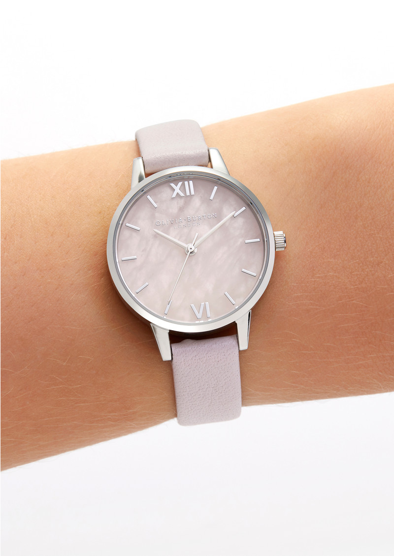 Semi Precious Midi Dial Watch - Rose Quartz, Blossom & Silver main image