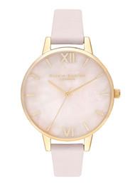 Olivia Burton Semi Precious Midi Dial Watch - Rose Quartz, Blossom & Gold