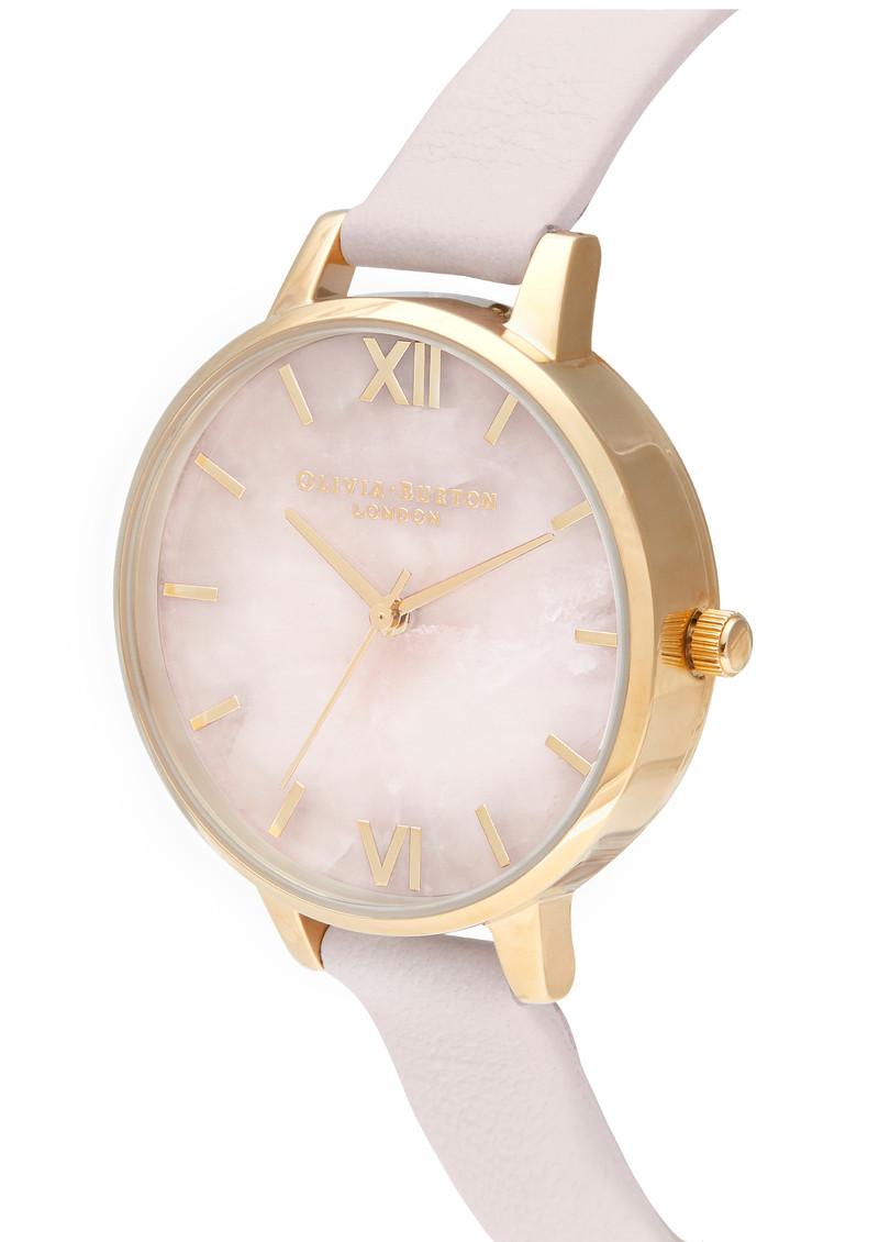Olivia Burton Semi Precious Midi Dial Watch - Rose Quartz, Blossom & Gold main image