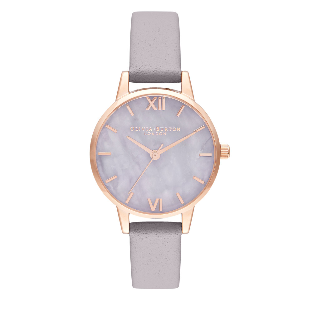 Semi Precious Midi Dial Watch - Amethyst, Lilac & Rose Gold