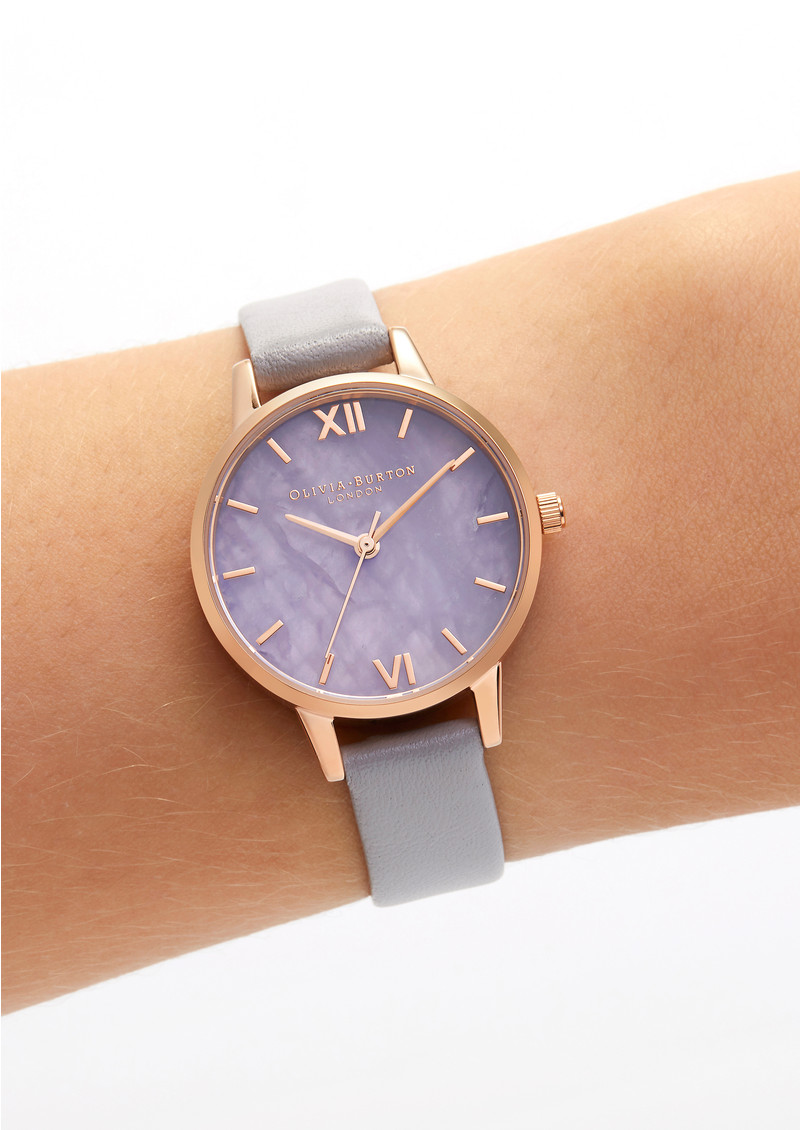 Semi Precious Midi Dial Watch - Amethyst, Lilac & Rose Gold  main image
