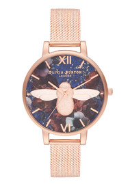 Olivia Burton Semi Precious Big Dial Moulded Bee Mesh Watch - Lapis & Rose Gold