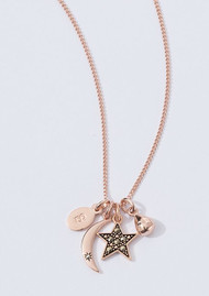 KIRSTIN ASH Single Gem Moon Charm - Rose Gold