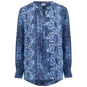 Stowe Silk Blouse - True Blue Python
