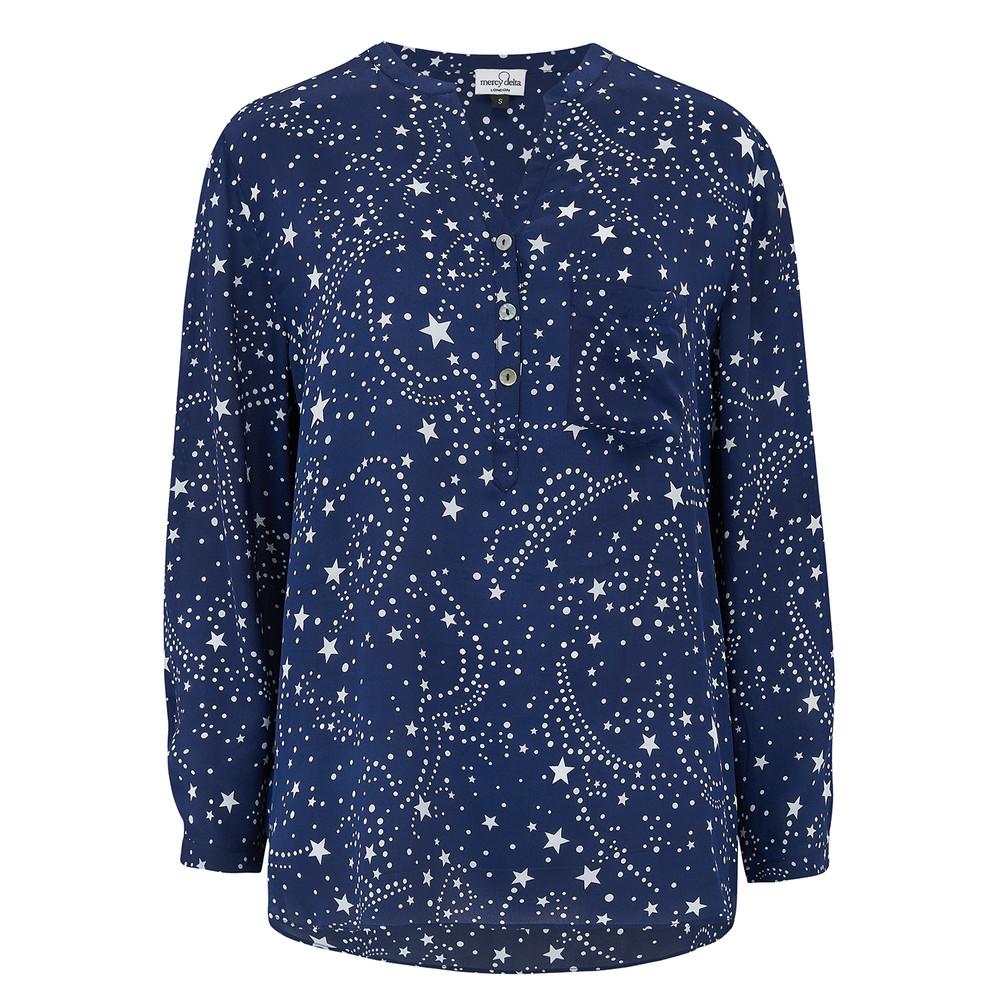 Stanford Silk Blouse - Galaxy True Blue