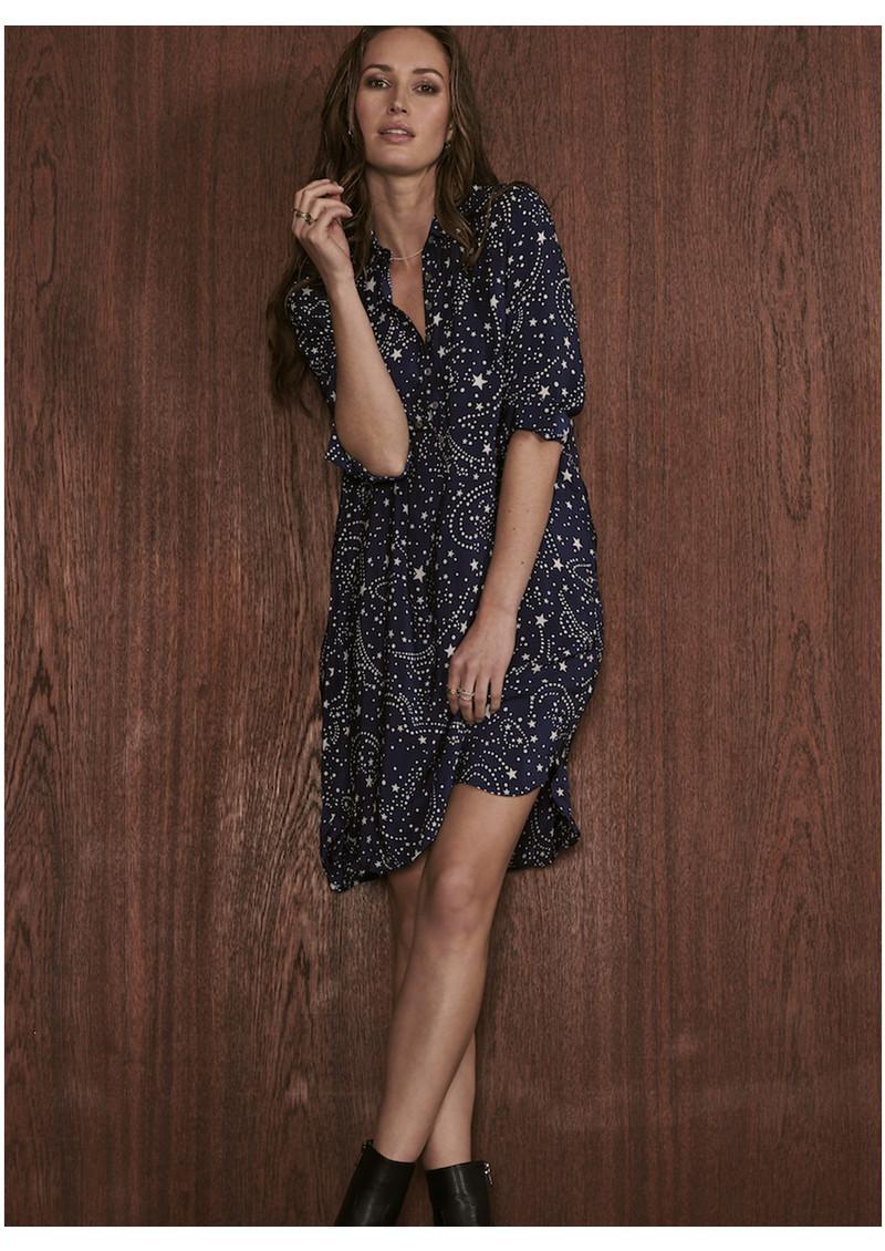Mercy Delta Wilton Silk Shirt Dress - Galaxy True Blue main image
