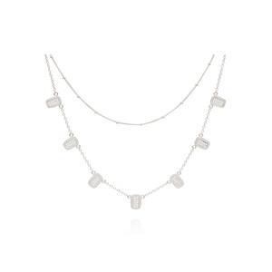 Sama Multi Bar Charm & Satellite Chain Double Necklace - Silver
