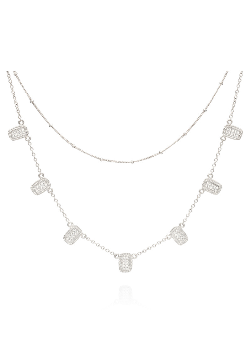 ANNA BECK Sama Multi Bar Charm & Satellite Chain Double Necklace - Silver main image