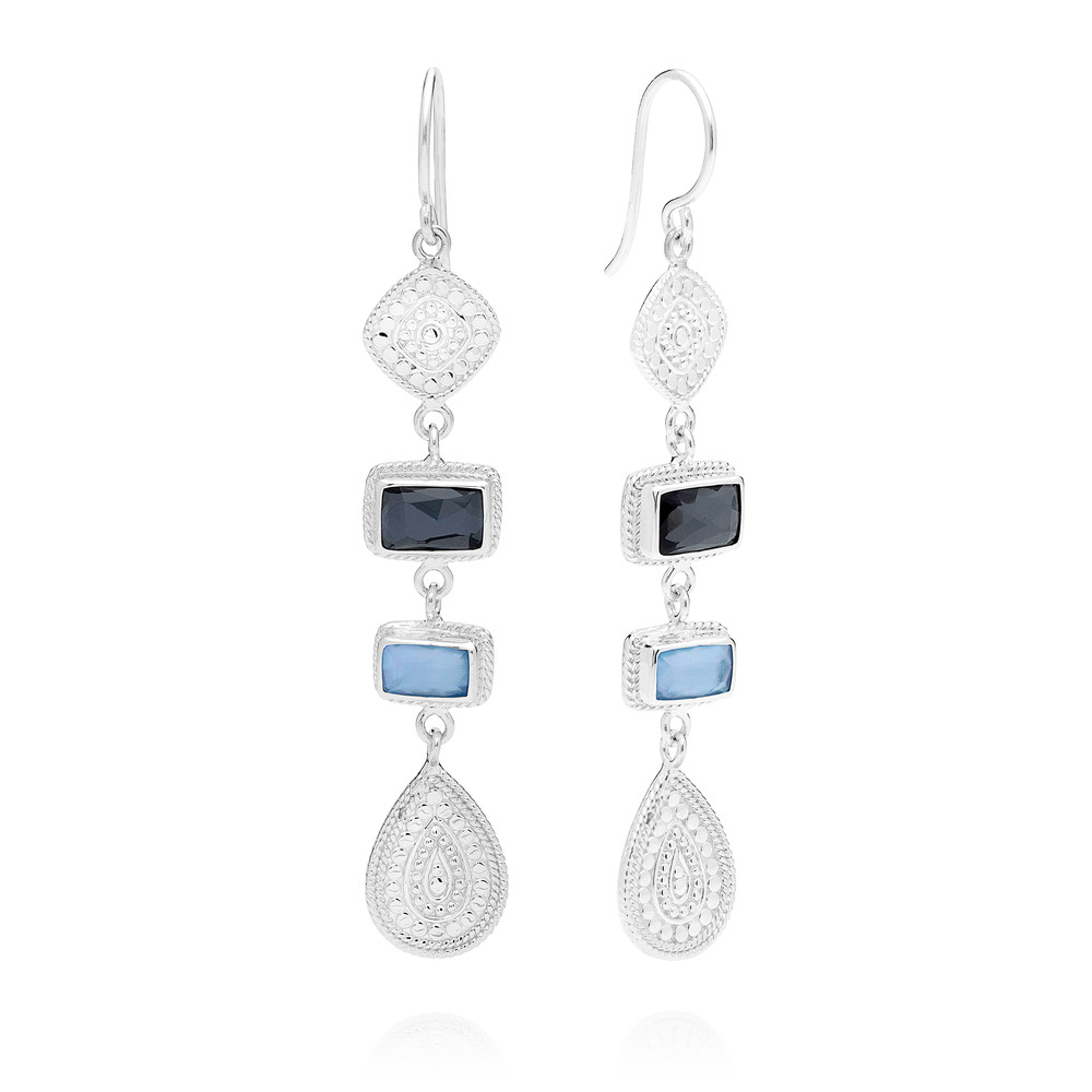 Sama Hematite & Sapphire Multi Station Drop Earrings - Silver