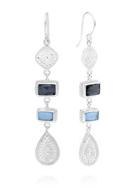 ANNA BECK Sama Hematite & Sapphire Multi Station Drop Earrings - Silver